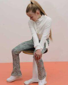 Kiestone flared pants green zebra